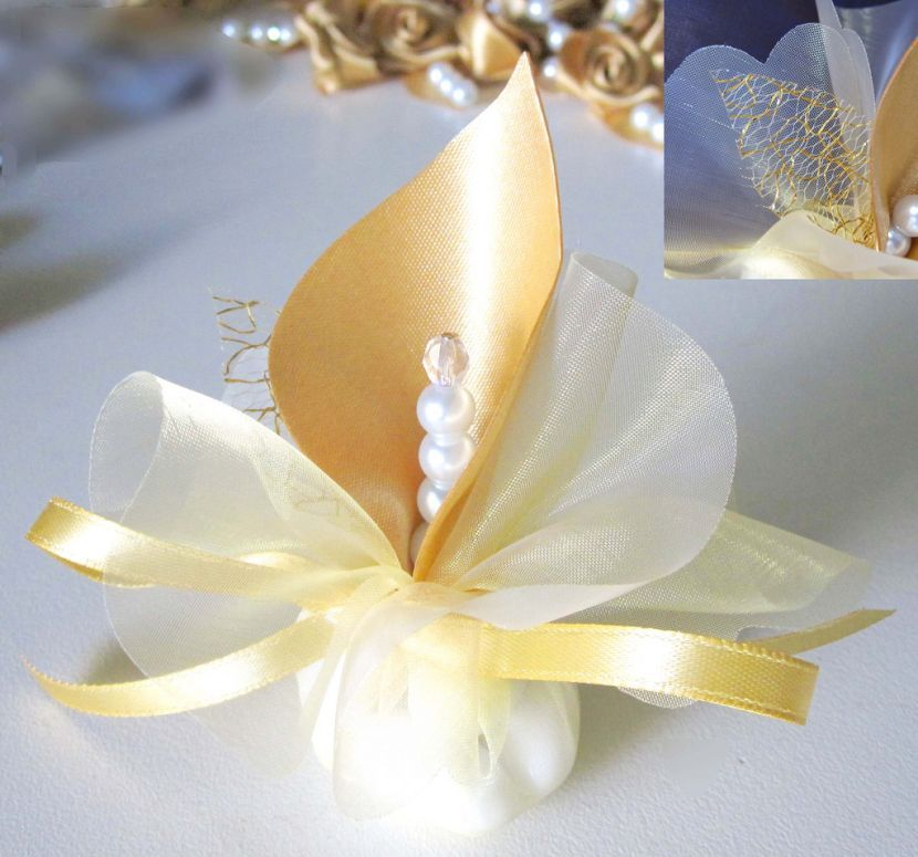 Fabric Handmade Calla Lily Wedding Favors Gold Or Custom Table Decoration Oniere