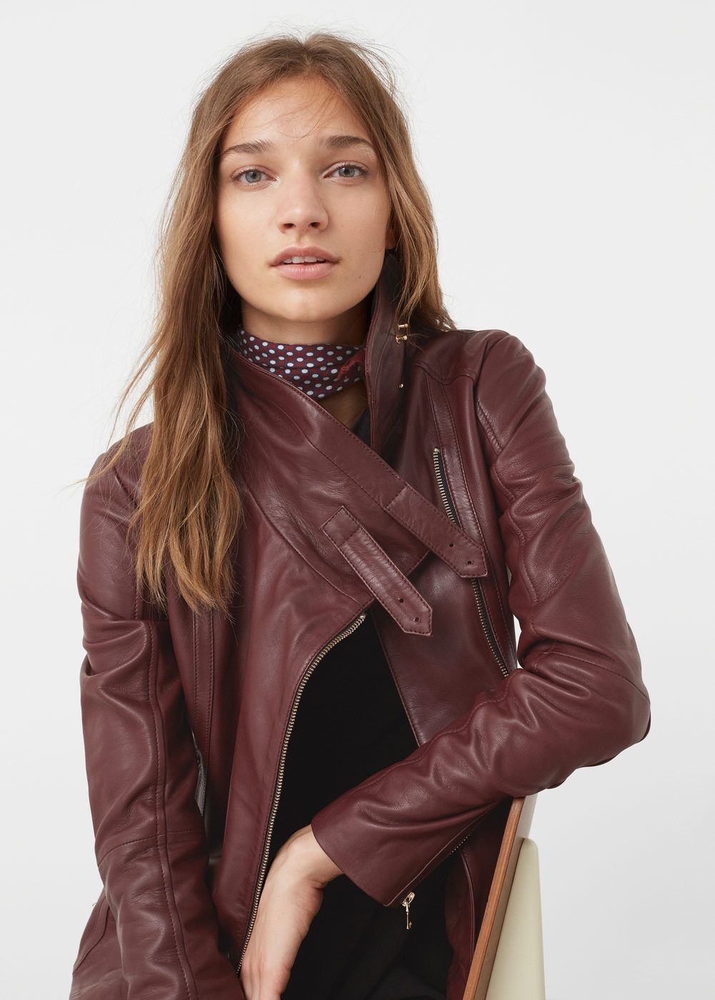 Zipdetail leather biker jacket Women Burgundy leather