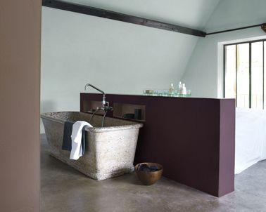 Peinture salle de bain ouverte sur chambre couleur prune taupe vert ...