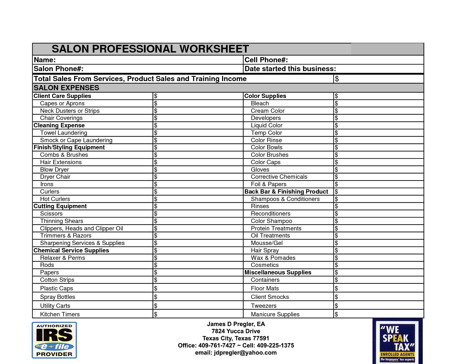 Worksheet Home Office Deduction