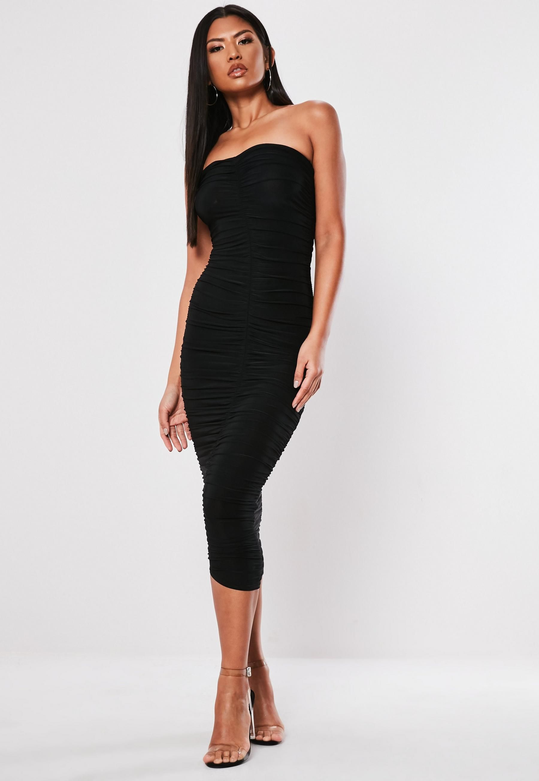 49fa702eea4 Black Extreme Ruched Bandeau Midi Dress in 2019