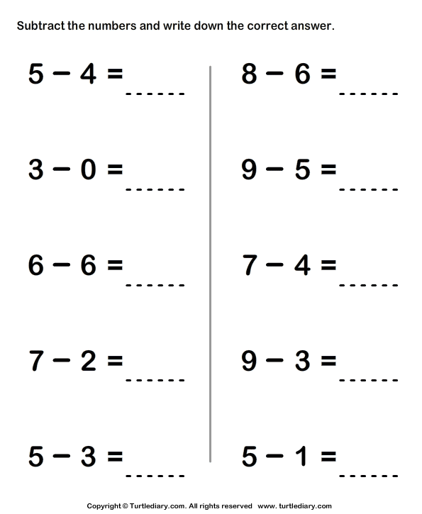 Subtracting Two One Digit Numbers Kindergarten Math Worksheets Addition Math Worksheets Addition Worksheets