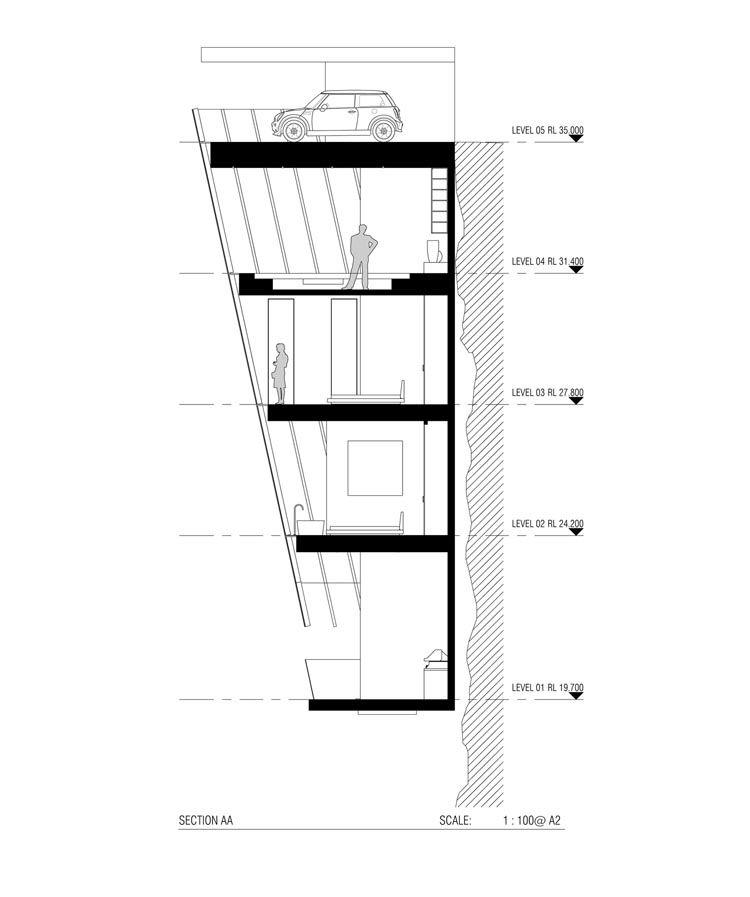 Cliff House, A Five-Story House That Hangs Off the Edge of a Cliff - plan maison en forme de u