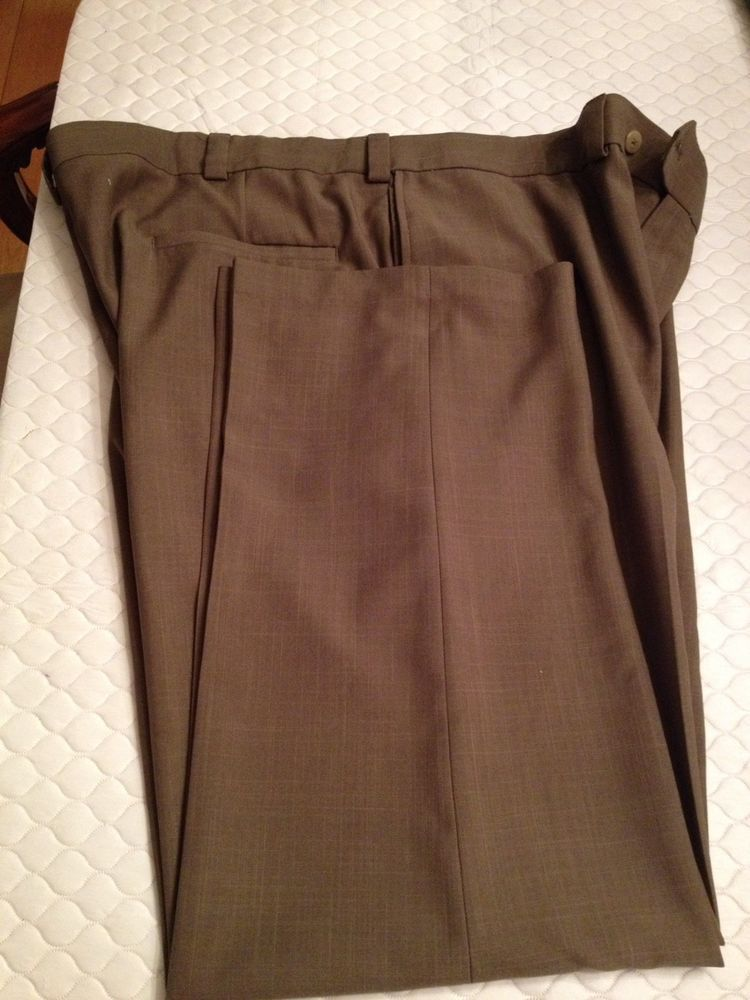 Mens Brown Haggar Light Weight Non Crease Slacks 4229 Fashion