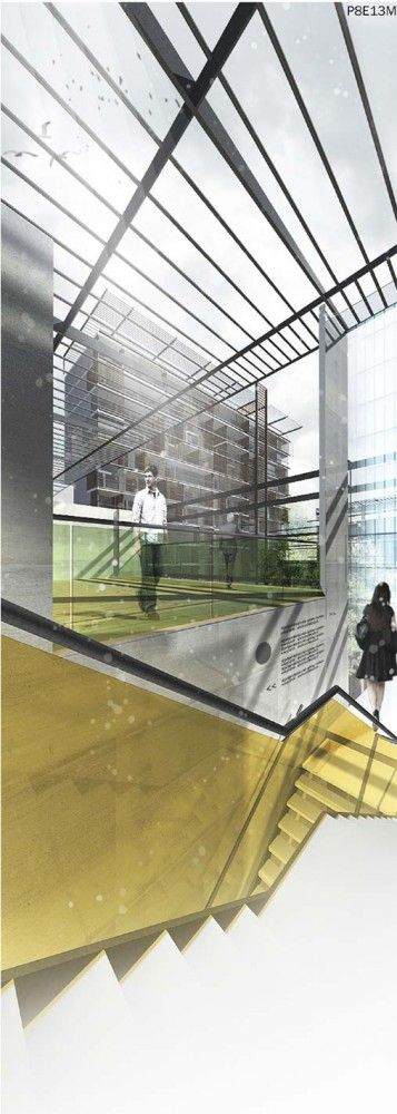 interior perspective for urban block proposal/ B4 architects