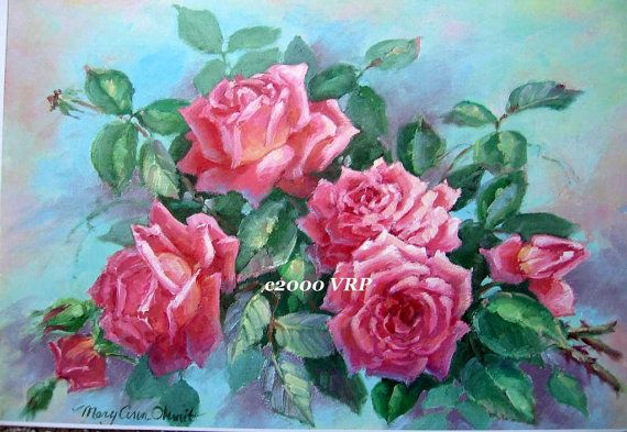 Print FREE SHIP Pink Cabbage Roses CP55 by VictorianRosePrints, $12.99