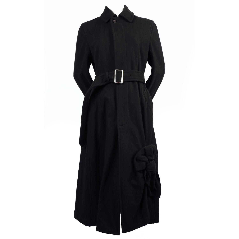 COMME DES GARCONS jet black wool coat with knot detail  Black wool
