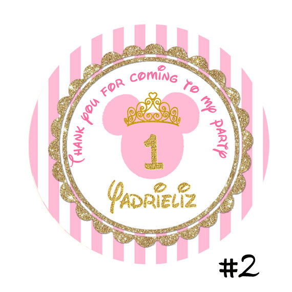 Pink and Gold Printed Minnie Mouse Birthday round sticker ...