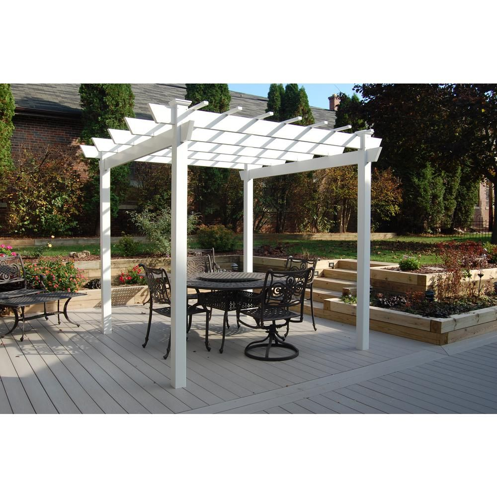 Dura-Trel Kingston 8 ft. 9 in. x 8 ft. 9 in. White Vinyl Pergola-11300 -  The Home Depot --maybe? - Dura-Trel Kingston 7 Ft. X7 Ft. White Vinyl Pergola Subtle