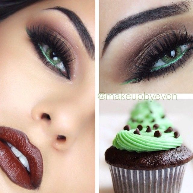 Mint chocolate inspired eye makeup