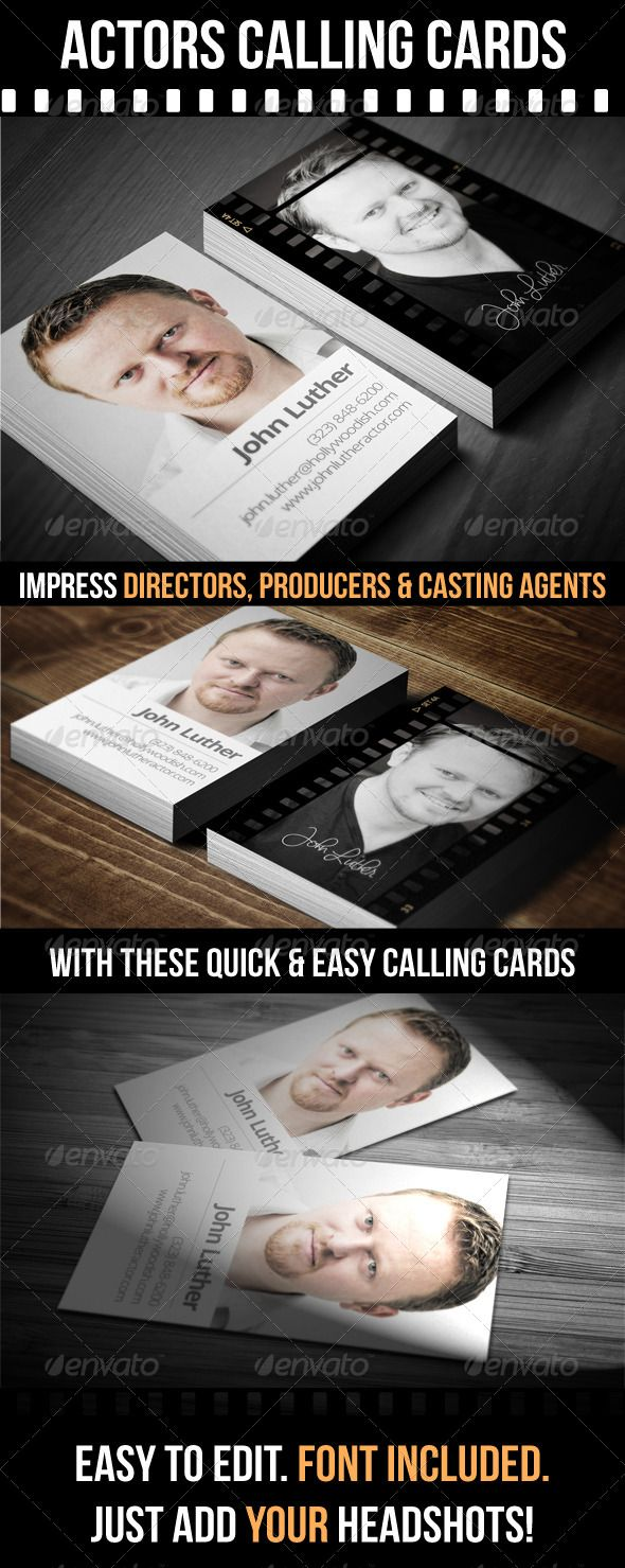 Actors Calling Cards | Calling cards, Business cards and Business