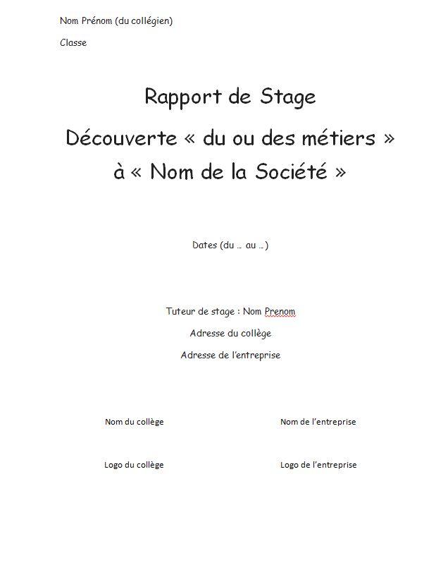 Comment Rediger Son Rapport De Stage De 3eme Comme Un Chef Rapport De Stage 3eme Stage Remerciements Stage