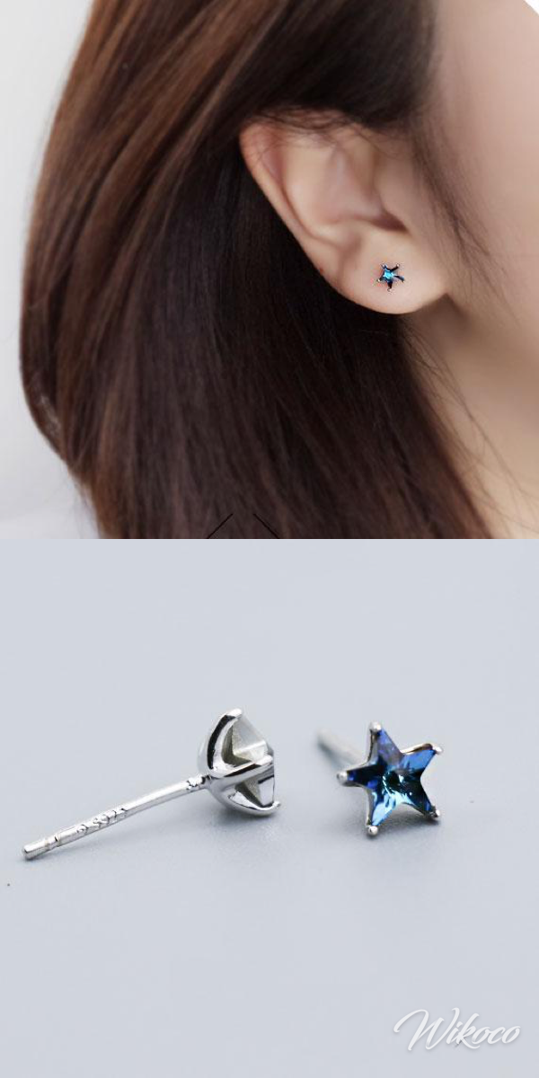 Cute Mini Blue Five-Pointed Star The Heart Of The Ocean Silver Girl's Earring Studs #Blue #PointedStar #Star #OceanSilver #Silver #Earring #Studs