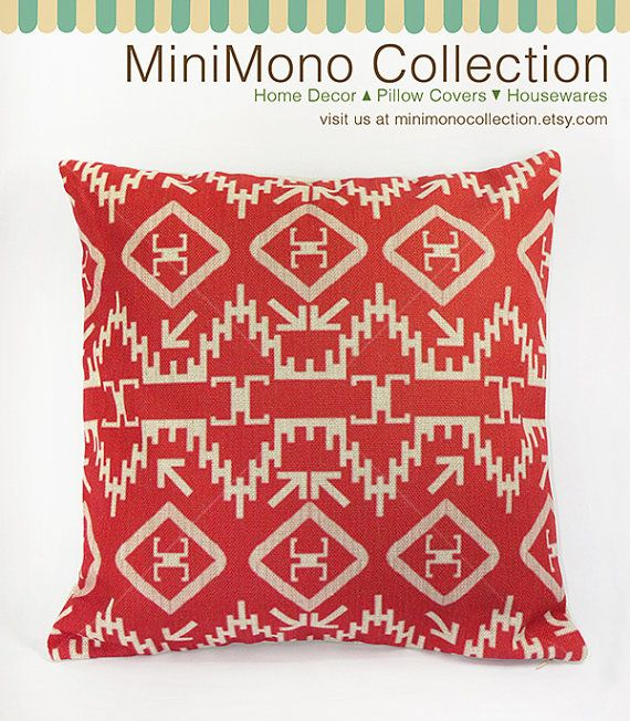 """Bohemian Style Red Color Geometric Shapes Linen Cotton Pillow Cover - Throw Pillow - Decorative Pillows  - 17"""" x 17"""""""