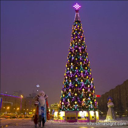 lighted commercial outdoor christmas tree