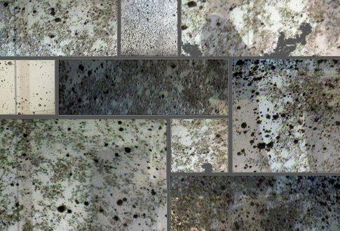 mercury glass tile backsplash kitchen tile Pinterest