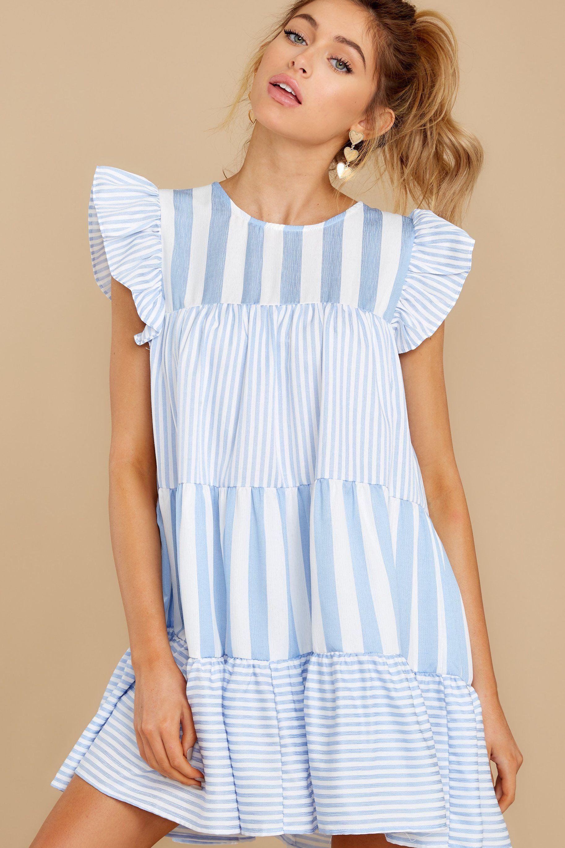 Swing On By Light Blue Multi Stripe Dress In 2021 Striped Dress Red Dress Boutique Red Dress [ 2738 x 1826 Pixel ]