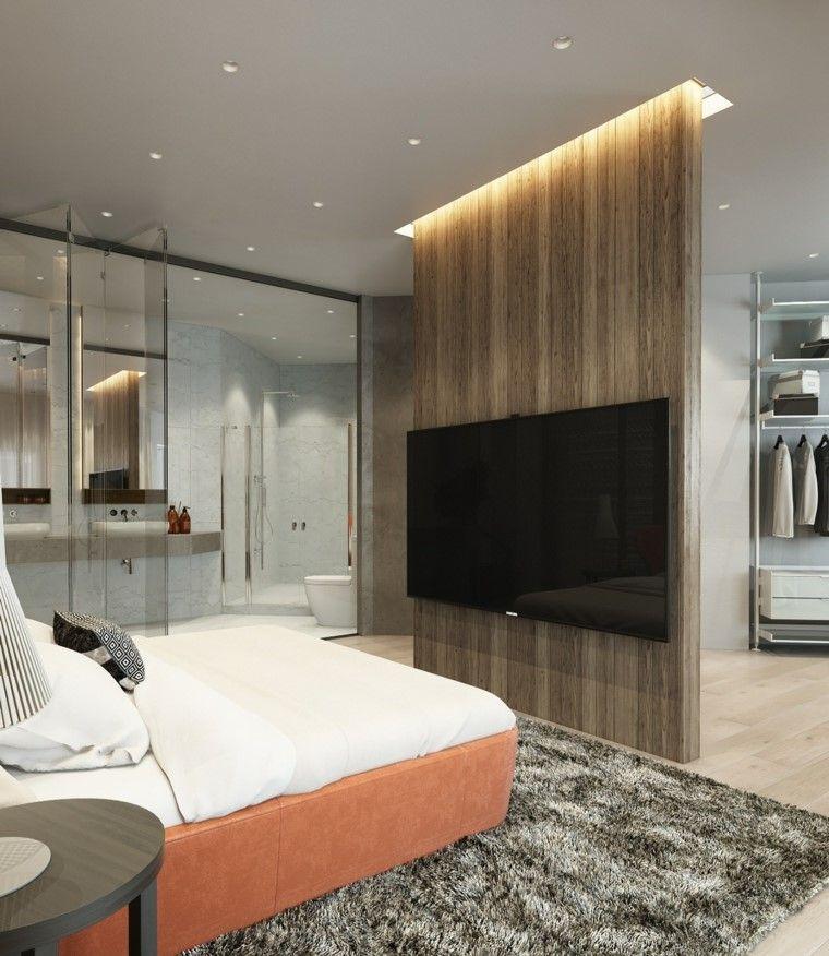 Un moderno dormitorio con un muro separador para instalar - Television dormitorio ...