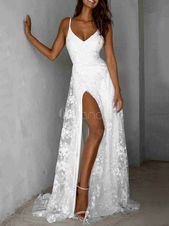 Bonito Vestidos largos sin mangas tirantes blancos en el cuello de encaje vestido largo fen ….  – Boda