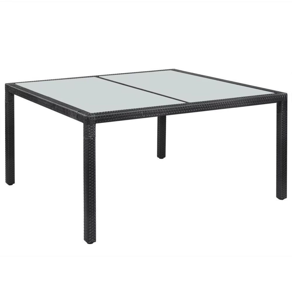 Outdoor Rattan Dining Table Steel Frame Black Glass Top Patio