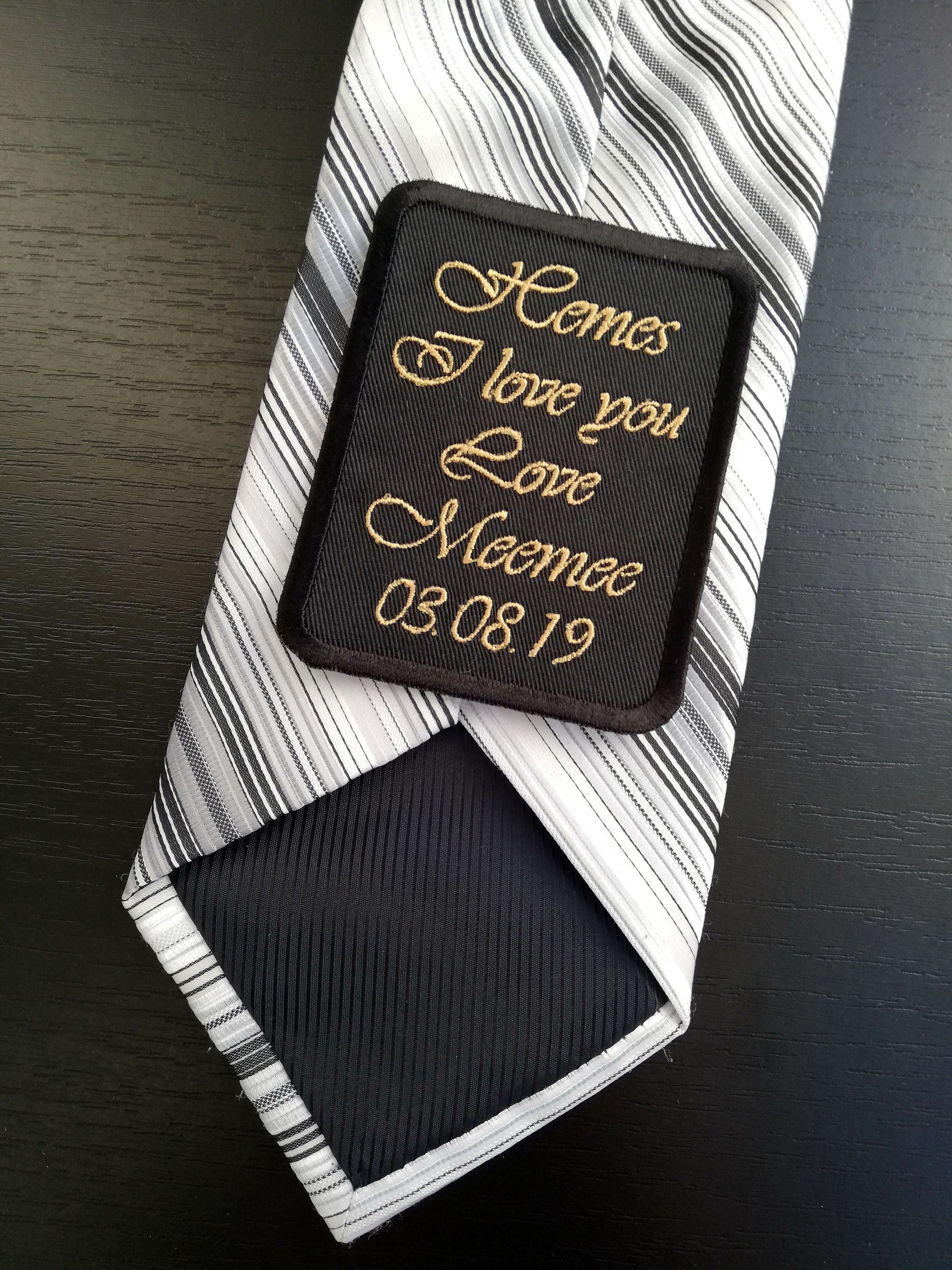Groom gift from bride on wedding day wedding tie patch