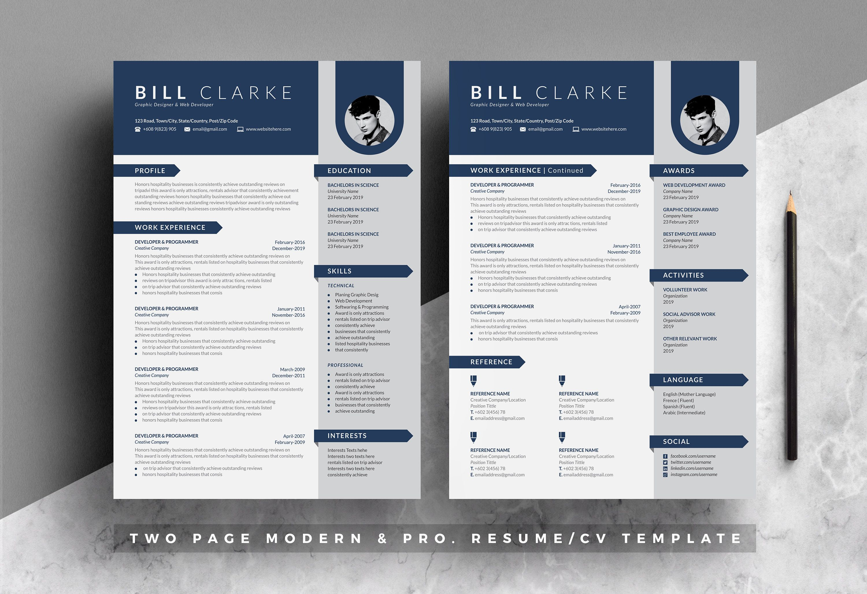 Modern Resume Cv Template For Word Photoshop Resume Cv Etsy In 2021 Resume Template Cover Letter For Resume Creative Resume Templates