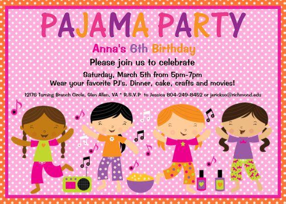 Pajama Party Birthday Invitation Slumber By Cutiestiedyeboutique