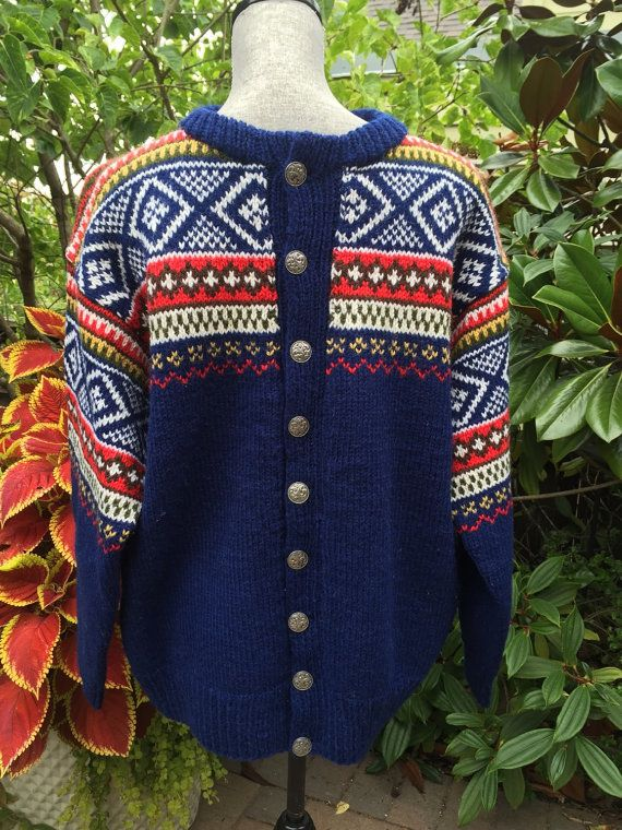 Fair Isle Norwegian wool sweater by WILLIAM SCHMIDT of Oslo-L