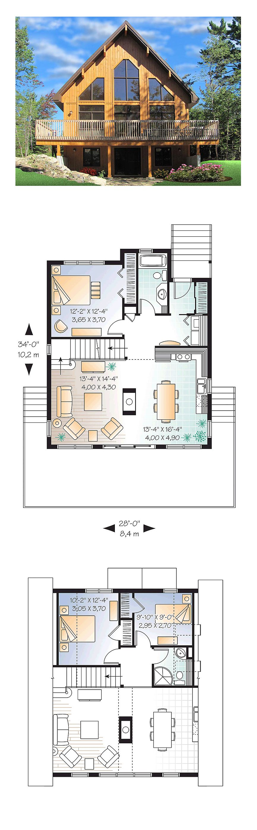 A-Frame Cabin Contemporary House Plan 76407 | Bedrooms, House and ...