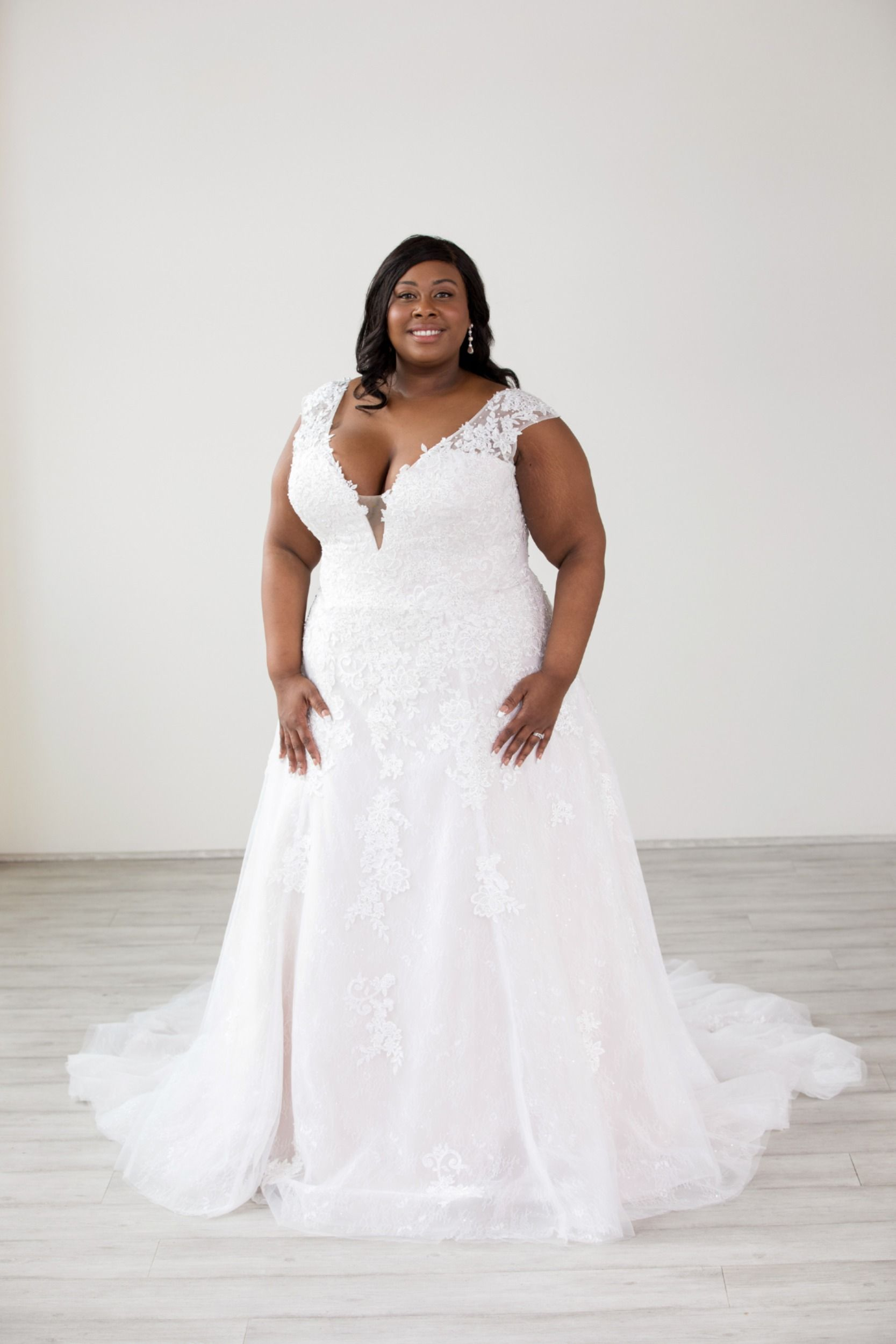 Lace A Line Plus Size Wedding Gown With Corset Back In 2020 Wedding Dress Accessories Plus Size Wedding Gowns Wedding Gowns