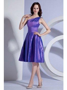 Slim Fitted One Shoulder Knee Length Purple Bridesmaid Dress
