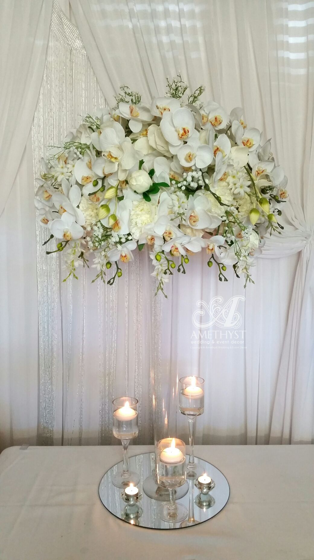 tall-white-orchid-centerpiece | Wedding Tablescapes | Pinterest ...