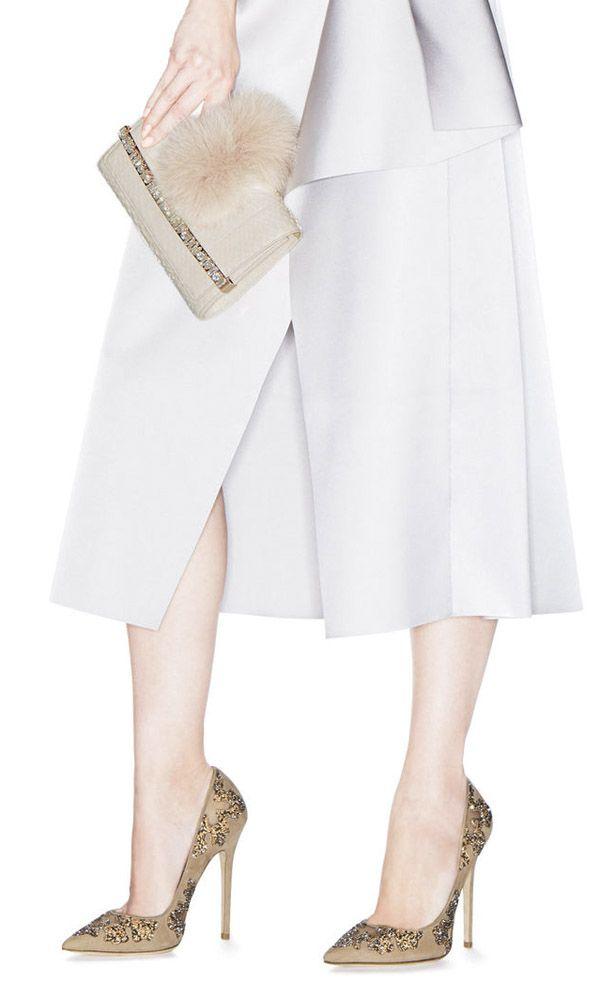 6826c2c70c Jimmy Choo White Python Bow Clutch Bag with Crystal Bar and Fox Fur Pom Poms