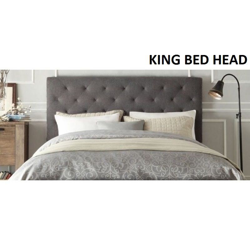 new concept e5dc2 bdff0 Windsor King Size Fabric Bed Head Headboard in Grey ...