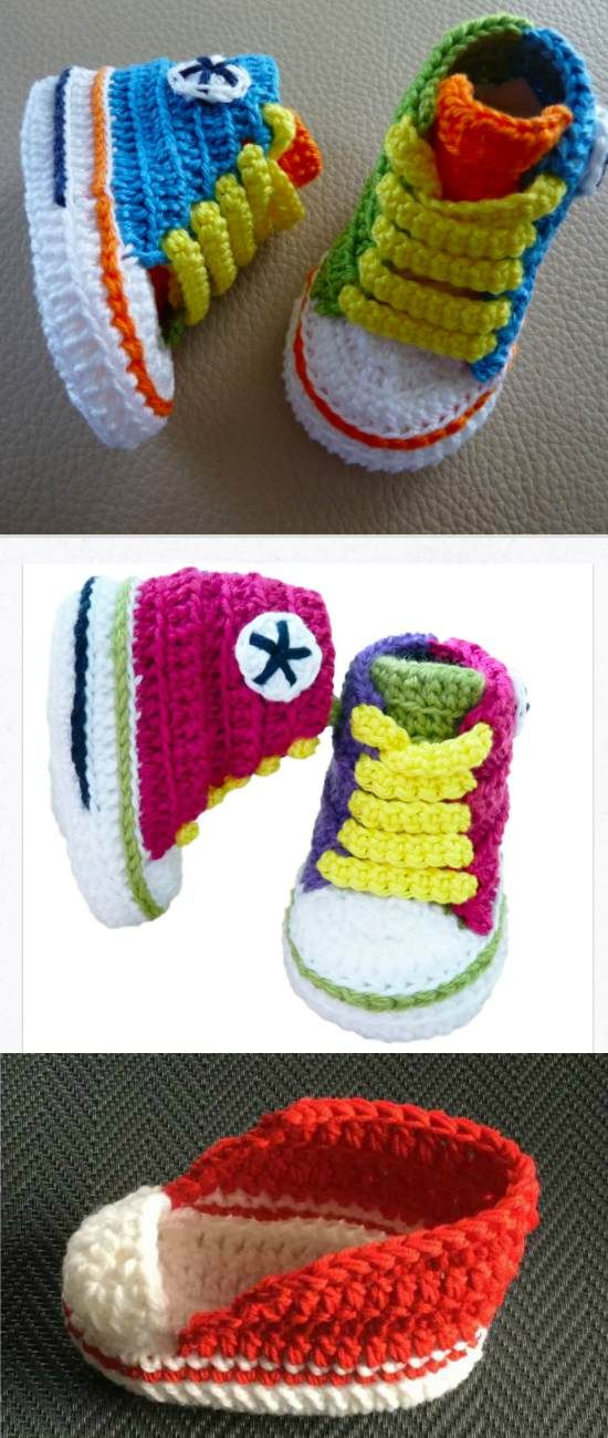 Converse Sneaker Styled Baby Booties Crochet Patterns Free