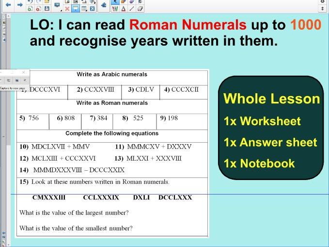 Roman Numerals up to 1000 - Lesson 2 Notebook- ks2 year 5 & 6 ...