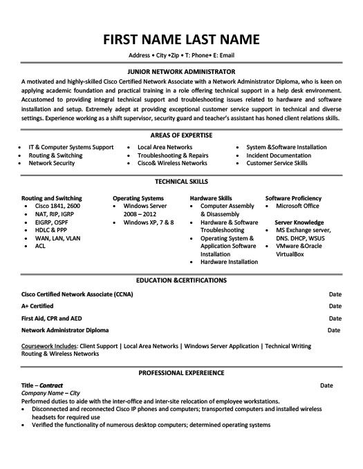 Junior Network Administrator Resume Template Premium Resume - computer network administrator sample resume