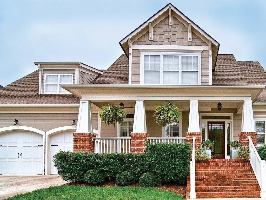 Love how the garage is set back....Dream home: craftsman style ...