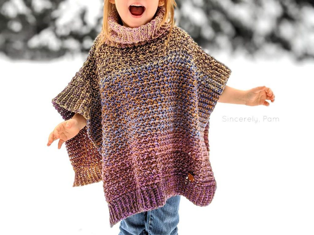 Lucky Penny Poncho Child Sizes| Free Crochet Pattern -