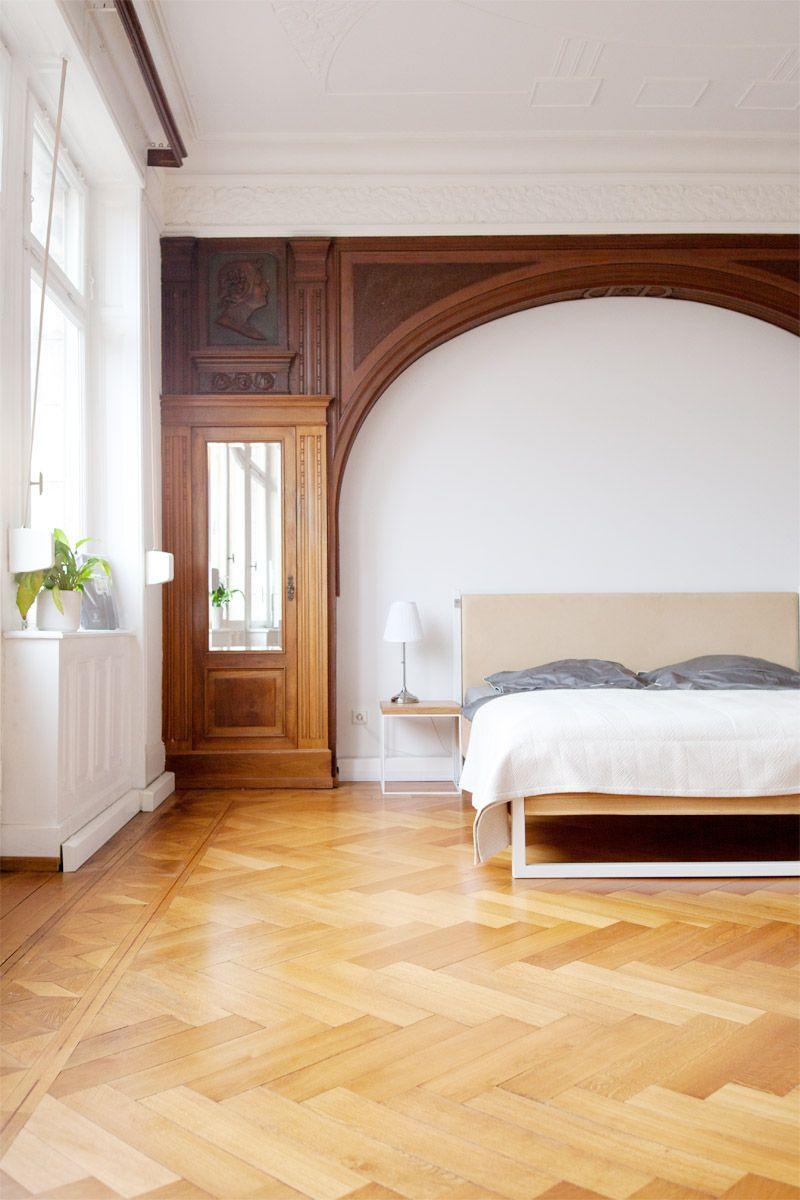 N51E12 - Nature Oak Bed - Bett aus Massivholz Eiche, Stahl und Leder ...