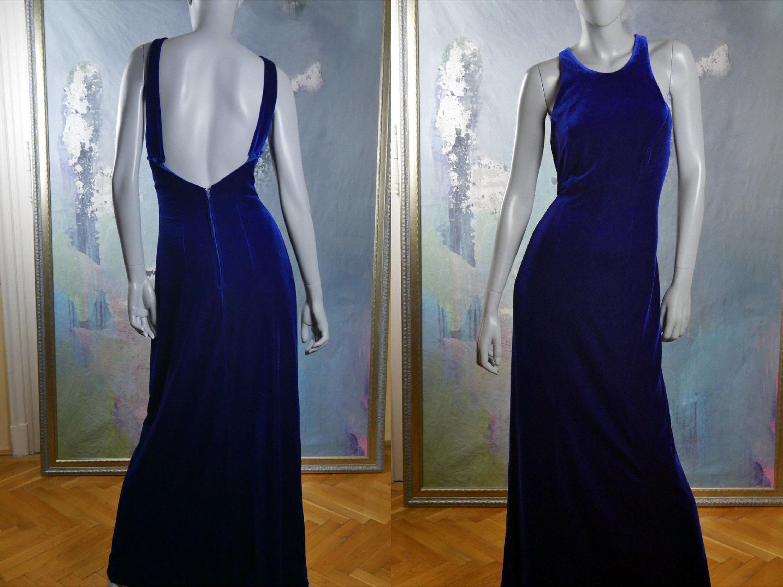 Royal blue velvet evening dress elegant sleeveless european vintage