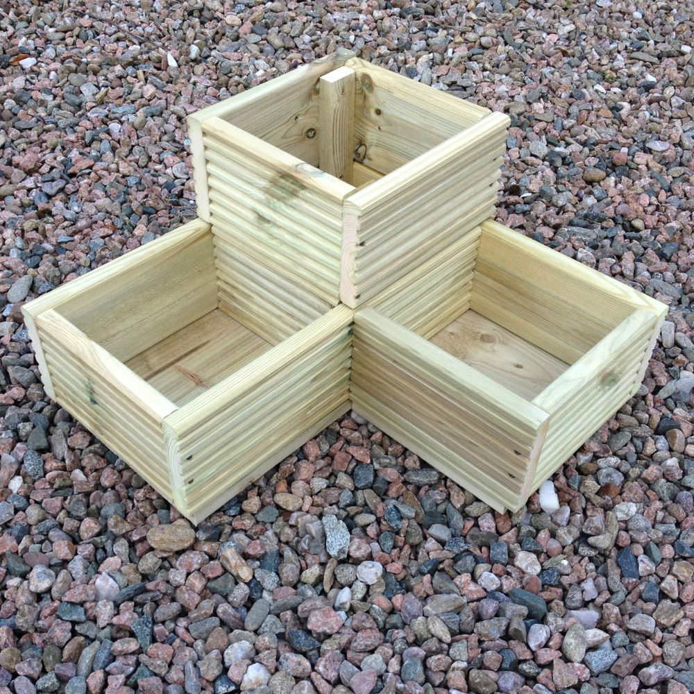 details about large corner l shaped wooden garden planter On garden decking planters