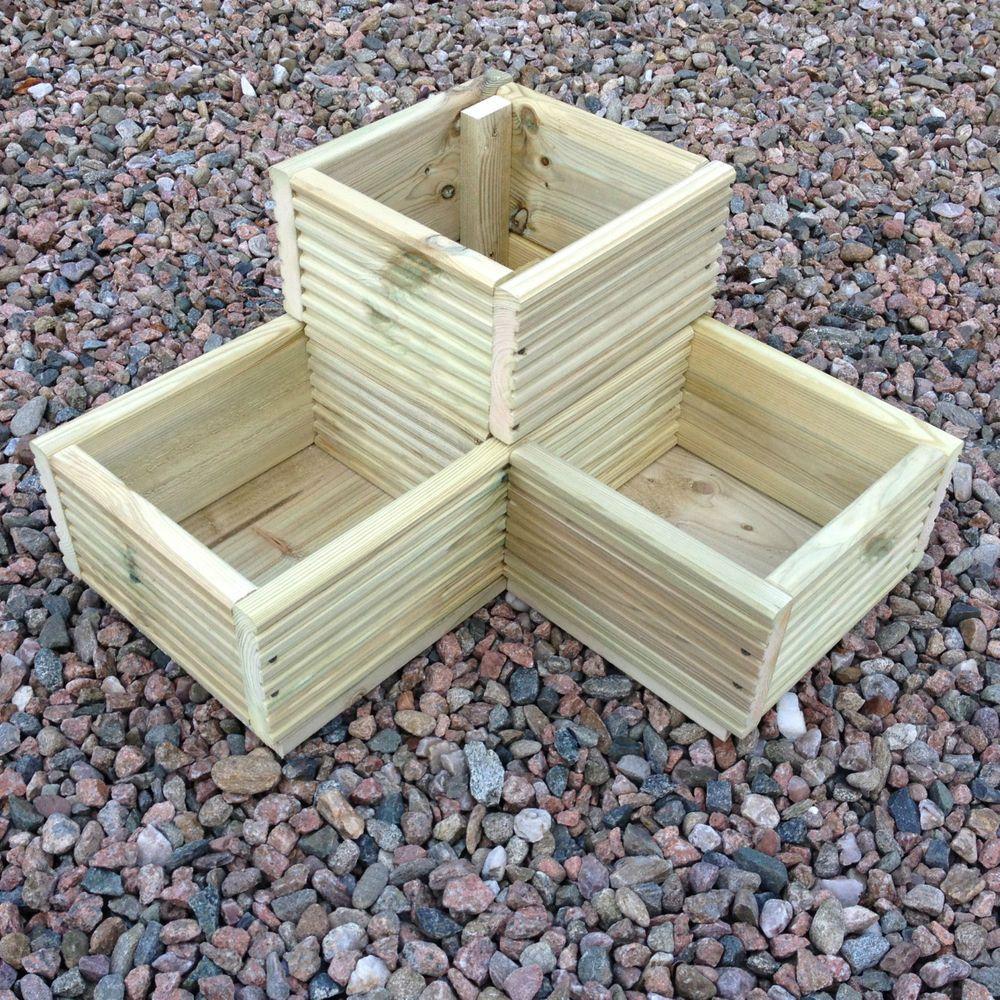 Large Corner L shaped WOODEN GARDEN PLANTER BOX Trough