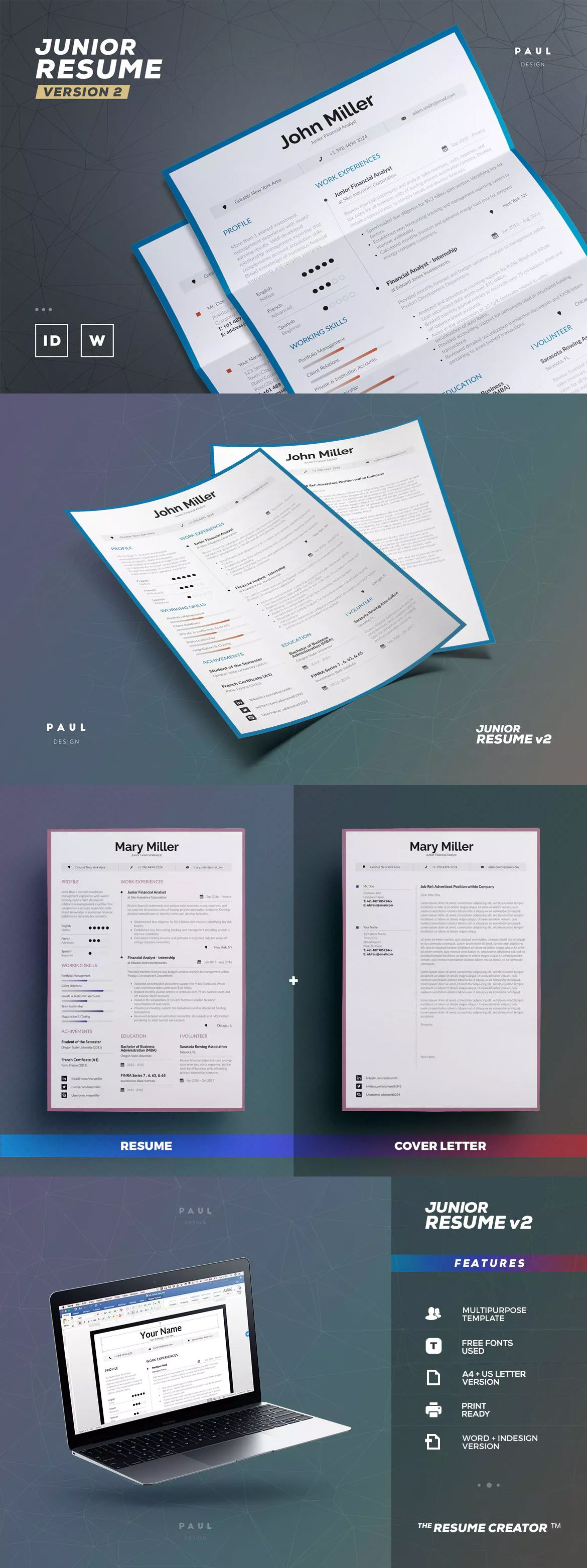 Junior Resume / Cv Template InDesign, INDD, MS Word A4