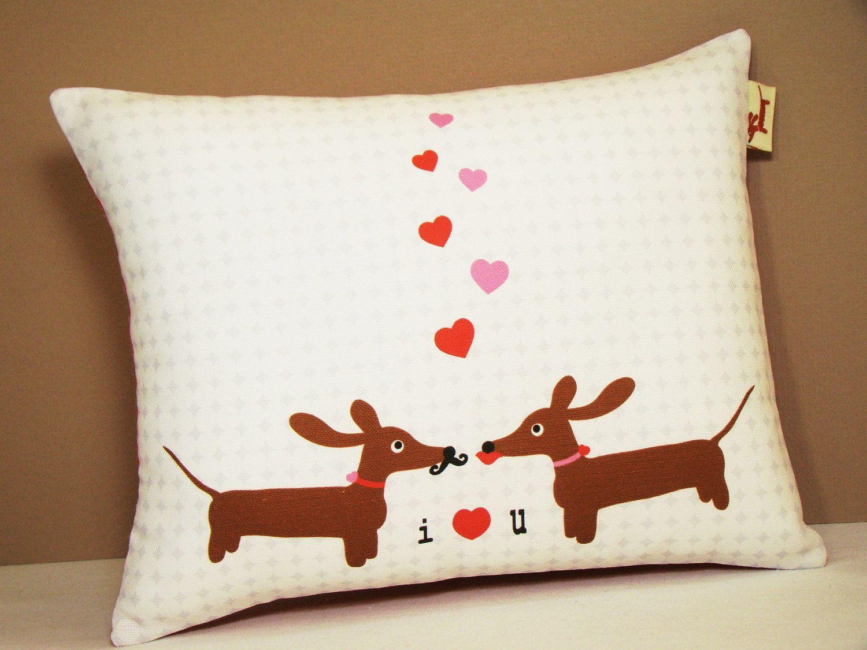wiener dog dachshund pillow doxies in love wedding anniversary valentine pillow 1800 via - Valentine Pillow