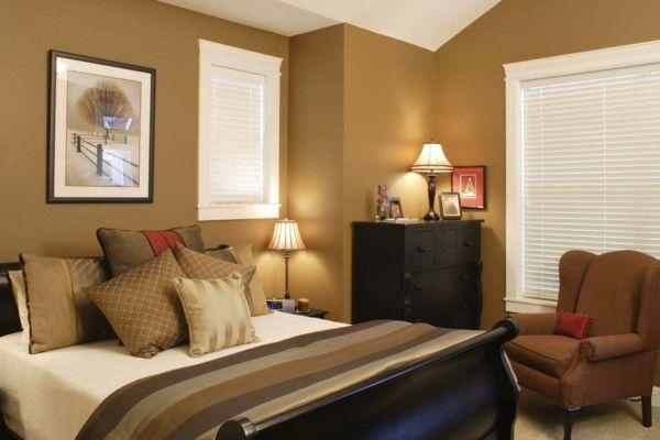 Beige Schlafzimmer Modern Gestalten Ockra Farbe Warme Wandfarben