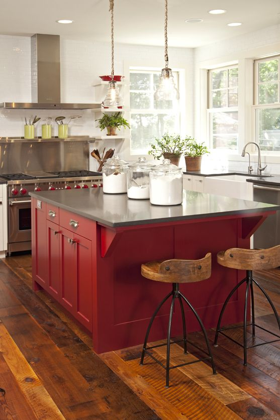 2 Chandeliers Over Island And 2 Stools With A Red Accent Island. Designed  By Mingle   Minneapolis Based Public Showroom.