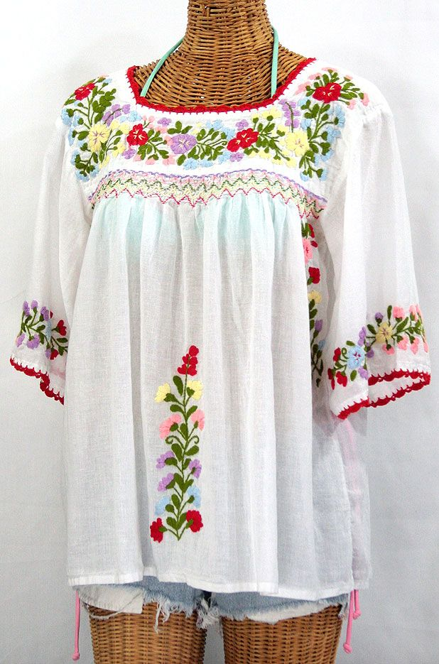 La Marina Mexican Embroidered Peasant Blouse Classic White
