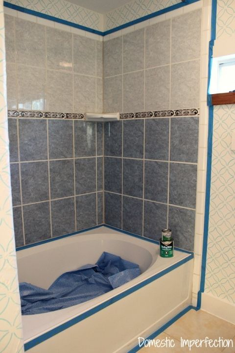 How To Refinish Outdated Tile Yes I Painted My Shower Make It Cool Refinish Bathroom Tile