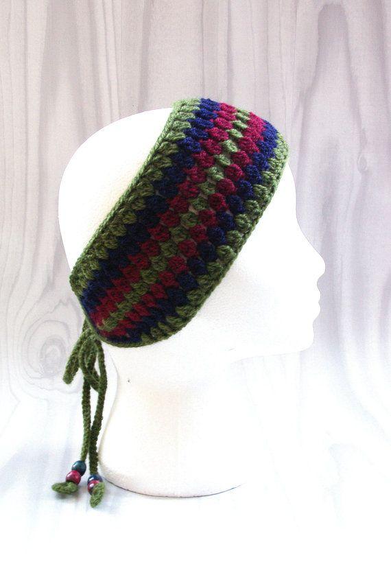 handmade crochet headband with beads head wrap head by nettimadeit ...